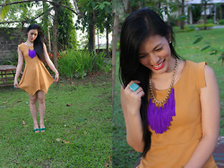 Alarilla Sisters - Bottomline Yellow Dress, Bubbles Tassel, Vnc Green Wedges - Mustard Yelllow