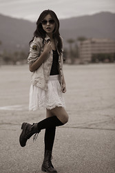 Amelia Jin - Forever 21 Button Down Shirt, Hollister Lace Skirt, Macy's Lace Top, Forever 21 Over The Knee Socks, Jcpenney Lace Up Boots, H&M Aviators - With Lace and Boots, I Would Make an Awesome Combat Soldier