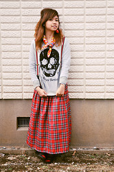 Kaila Ocampo - Treasure Factory Skull Sweater, Rivet & Surge Plaid Skirt With Suspenders, Diy Hello Kitty Scarf, Paris Kid's Strawberry Earring - Punk for a Change