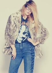 Rhiannon Janae - Rack Traffic Vintage Fur, Thrifted Tee - Go play your video games