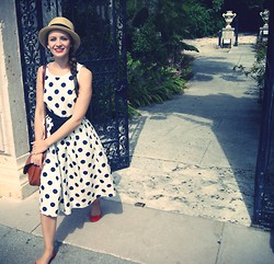 Carolina Benoit - J.Crew Dress, J.Crew Shoes, Darling New York Hat - Polka in Town