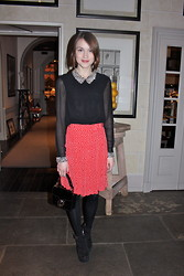 Ella Catliff - Whistles Sequinned Blouse, Whistles Heart Print Skirt, Gucci Patent Box Bag, Topshop Suede Wedges - Cocktails in Florence