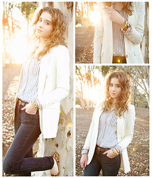 Katelyn Rose Caster - Madewell Striped Button Down, H&M White Blazer, Madewell Leopard Flats, Free People Bracelet Set - Where the Road Meets the Sun