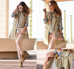 Mireia MDS - Diy Sleeveless Trench, Topshop Boots, Zara Denim Shirt, Ray Ban Sunglasses - DAY'S DAWNING
