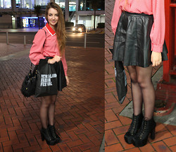 Emily B - Glassons Leather Skirt, Jeffrey Campbell Litas, Polkadot Blouse - Fashion Festival