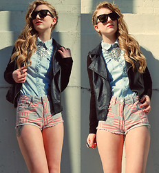 Olivia Taylor - Forever 21 Chain Mail Collar, Topshop Flag Hotpants - Faded Flag Hotpants