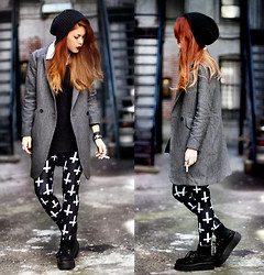 Lua P - Sheinside She Inside Coat, Black Milk Clothing Leggins - Fooling no one but ourselves