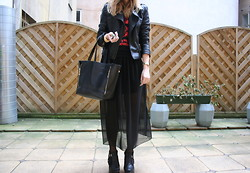 Joll Burr - Tote Bag, A.P.C. Platforms, Bijou Brigitte Watch, H&M Top, Jacket, Armani Exchange See Through Maxi Skirt - See thru skirt