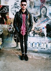 Jordan Bromley - Charity Shop Vintage Biker Jacket, Fred Perry Messenger Bag, River Island Canvas Rucksack, Black Skinny Jeans - Act of contrition