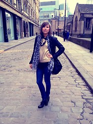 Irena D - H&M Jumper, All Saints Leather Jacket, Alexander Wang Bag, H&M Jeans - Gold Jumper by H&M