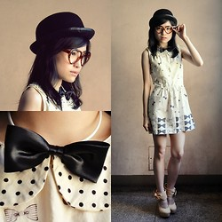 Kayley See - Bowler Hat, Elle Poupee Black Bow Tie, Fab Ribbon Printed Baby Doll Dress, Charlotte Russe Nude Ribbon Pumps, Thrifted Heart Shaped Nerdy Glasses - Its What You Call...Bow Addiction.