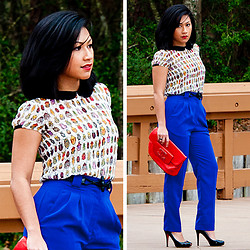 Gita W - Zara Sheer Printed Blouse, American Apparel Micro Poly Hight Waisted Pleat Pant, American Apparel Leather Toggle Belt, Chanel Clutch, Christian Louboutin Open Clic 120 Patent Leather Pumps - It's a Beetle's Life