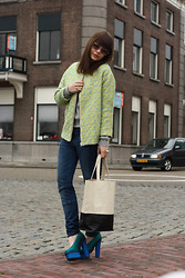 Iris . - Prada Sunglasses, H&M Jacket, Vj Style Bag, Acne Studios Shoes, Zara Jeans - Mint & Blue