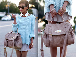 Olivia Lopez - Zara Sweater, The Caravan Collar, Club Monaco Pleated Mauve Skirt, Super Sunglasses - Spring Knits