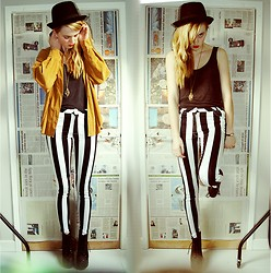 Holly U - Second Hand Chord Shirt, Motel Rocks Striped Jeans, Jeffrey Campbell Jeffers - HELLO MARCH