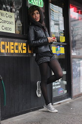 Christina Caradona - Kenneth Cole Jacket, Converse Sheos, Porter Grey Shorts, Necklace Lacondessa - Back to routine