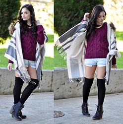 Alba . - River Island Cape, Bershka Sweater, Zara Shorts, Stradivarius Boots, Zara Necklace - Addiction to Burgundy...
