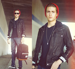 Adam Gallagher - Hottopic Beanie, Bamboo Basic Shirt/Hoodie, Pleather Jacket, Shoes - Backfired