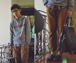 Jehan R. - Pull & Bear Hoody, Topman Floral Button Down, Topman Chinos, Bag - BLOOD