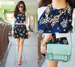 Kryz Uy - Love Sleeveless Print Dress, Michael Antonio Patent Pumps, Clothes For The Goddess Teal Satchel - Boy Pretty VS Girl Pretty