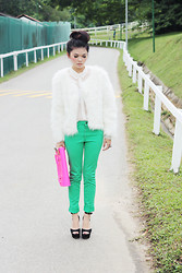 Melody Tan - H&M Jeans, Cambridge Satchel Company Bag, Steve Madden Heels - Fluro