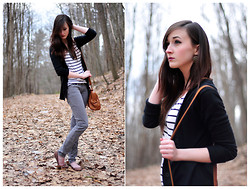 Caitlin Elise - Target Black Cardigan, H&M Striped Shirt, Aldo Satchel, Pacsun Gray Skinny Jeans, Pacsun Brown Cut Out Flats, Target Earrings - A FOREST BIRD NEVER WANTS A CAGE.