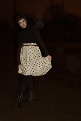 Emily Reifert - The Limited Dot Skirt, Combat Boots, Thrift Black Tee, H&M Turtleneck - I'll be there to fix you with love...