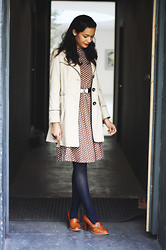 Nesha W - Office Loafers, Topshop Tights, Vintage Dress, New Look Coat - Old Fashion