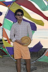 Carlo Agdamag - Floral Shirt, Straw Trilby, Orange Shorts - Colors of Summer
