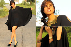 Raphaelle Angela Fernandez - Sheer Cut Off Shoulder Cape Dress, Gold Collar Necklace, Guess? Gold Watch, Janilyn Black Pumps - Black and Gold