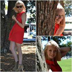 Halina Myers - Glassons Red Lace & Chiffon Dress - PEEKABOO