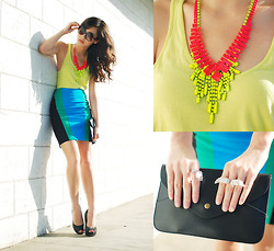 Kryz Uy - Windsor Skirt, Extreme Finds Neon Necklaces - Summer Lights Summer Brights