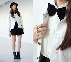 Melissa Gatchalian - Diy Velvet Bow Tie, Diy Denim Jacket, Swiped From A Friend Pleated Skirt - School boy/ School girl
