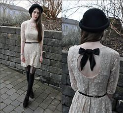Laura R. - H&M Hat, Primark Dress, H&M Belt, Primark Tights, Lace Up Wedges - Hearts and hats