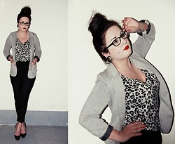 Danielle F - Forever 21 Leopard Tee, Forever 21 High Waisted Pants, Wal Mart Round Toe Pumps, Gt Cotton Blazer - Do You Wanna Dance, Little Rude Girl?