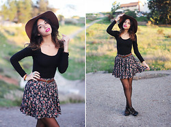 Alana G - Black Mini Dress, For Sale Vintage Floral Mini Skirt, Triple Buckle Flats, American Apparel Wool Hat - Take it back