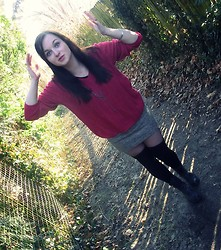 Tyna R. - 2nd Oversized Sweater, Terranova Lace Ups, Asos Cross Necklace - Sorry for the face guys.. :D