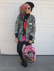 Kelly Love - See You Monday Black Leggings, Liz Claiborne Houndstooth Sweatr, Thrifted Army Jacket - Iridescent