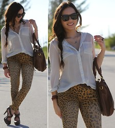 Daniela Ramirez - Furor Sunglasses, Mimi Boutique Bracelet, Target Jeans, Forever 21 Top, Mimi Boutique Bag, Forever 21 Shoes - Chill leopard!