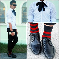 Nicko Songco - Ceo Button Down, Wade Black Lace Up Shoes, Ceo Black Necktie, Folded And Hung Black Leather Wristband, Bench Red And Black - BLACK RIBBON