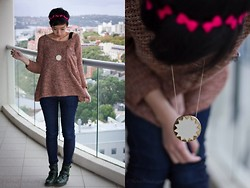 Nora Finds - Show Pony Sweater From Upcoming Collection, Miss Sixty Jeans, House Of Harlow Sunburst Necklace, Asos Combat Boots - Time to bring out the knits! 10% off this sweater!