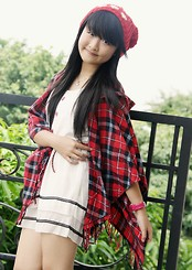 Veren Lee - White Dress, Red Plaid Poncho Worn As Outer - Little White Dress
