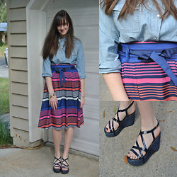 Maddy C. - Old Navy Denim Shirt, Old Navy Skirt, Kate Spade Wedges - Back to the 70's