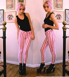 Lucy Rance - River Island Striped Jeans, Jeffrey Campbell Lana, Per Una Top - Candy Cane Legs