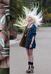 Sideara 9 - Thrifted Favorite Cardigan, Thrifted Dress, American Apparel Skirt, Jeffrey Campbell Cat Shoes!, Gaggle Of Necklaces, $$$$$$$ Nails - I wonder what the aliens are like