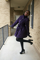 Joy U - Za Heels, Jcpenny Coat, Century 12 Ny Leather Gloves - Purple coat and red lips