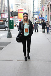 Isabella T - Bikbok Cap, Monki Mobilepurse, H&M Jacket, Cubus Sweater, Gina Tricot Bag, H&M Creepers - CREEPERS