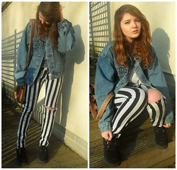 Maddie Grubb - Oversize Vintage Denim Jacket, Camden Striped Beatle Juice Jeans, Black Underground Creepers, Topshop Brown Leather Bag - Crossing The Line