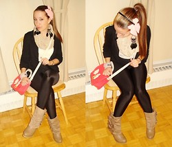 Kai G - H&M Bow Headband, Vintage Suede Botties, Topshop Bow Mini, H&M Blazer, Forever 21 High Waisted Leggings, Urban Outfitters Wrap Around Scarf - Pink Satin and Neutral Love