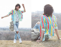 Bobby Raffin - Black Market Primary Stripes, Value Village Mint, H&M Tropical Randomness, Zara White Kicks, Tie Ups Belt - We wrote a prelude to our own fairy tale.
